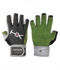 HARBINGER HUMANX X3 Competition Open Finger WristWrap Gloves GREEN / GREY