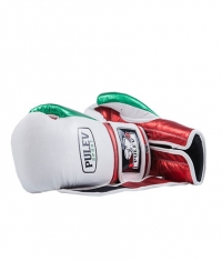 PULEV SPORT White-Green-Red Velcro Boxing Gloves