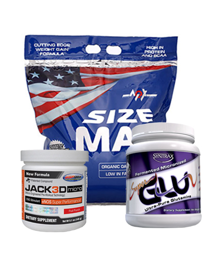 promo-stack MEX Size Max 15 Lbs. + USP LABS Jack3d Micro 145g. + SYNTRAX SuperGLU 500g.