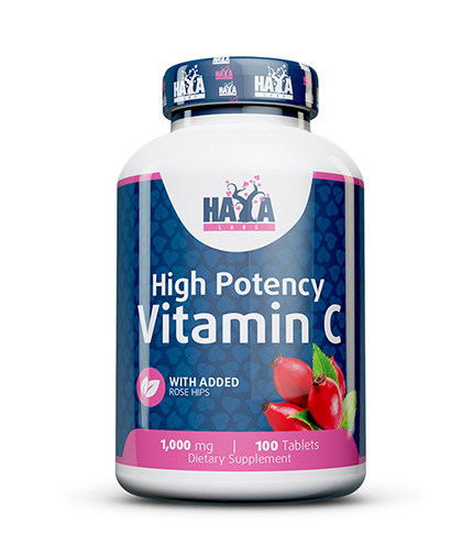 HAYA LABS High Potency Vitamin C 1,000mg with Rose Hips 100 Vtabs.