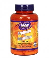NOW Arginine 500mg & Citrulline 250mg / 120Vcaps.