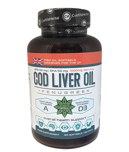 cvetita-herbal Cod Liver Oil / 130 Caps.