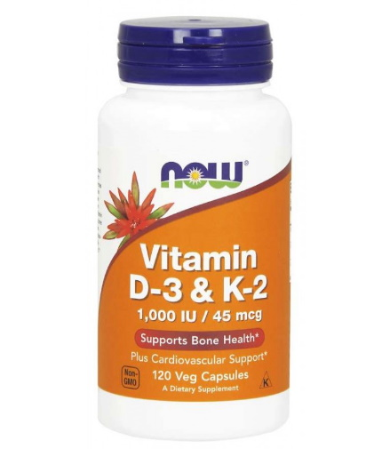 now Vitamin D-3 1000 IU & K2 45mcg / 120 Vcaps
