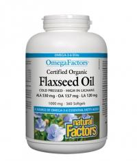 NATURAL FACTORS Flaxseed Oil 1000mg. / 360 Softgels.