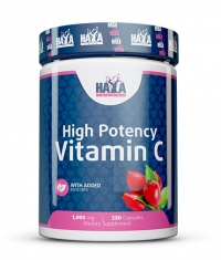 HAYA LABS High Potency Vitamin C 1,000mg with Rose Hips 250 Caps.