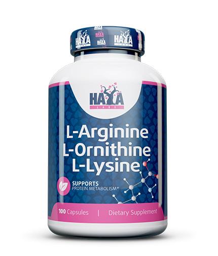 HAYA LABS L-Arginine / L-Ornithine / L-Lysine 100 Caps.