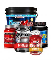 PROMO STACK ALLMAX Quickmass Loaded 10 lbs. + Casein FX 2 lbs. + N.O.-Xplode 50Serv. + Xtend 30 Serv. + AMIX Daily One 60Tabs. 3+2 FREE!